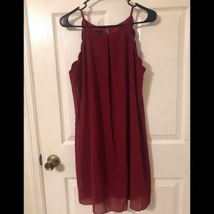 Red Sleeveless Scalloped Dress